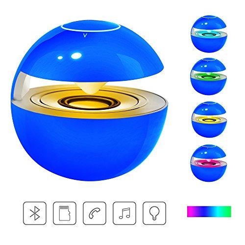 小型Bluetoothスピーカー【LEDライト付き/タッチボタン/マイク内蔵/SDカードサポート】贈り物(ブルー)