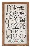 Born Savior Christ the Lord Holly 11.5 x 17.5 クリスマス ファームハウス フレーム ウォールプレート