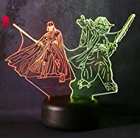 3D ナイトライト マルチカラー スターウォーズシリーズ Darth Vader & yoda ホワイト