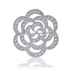[ブリング・ジュエリー] Bling Jewelry CZフラワーオープンローズウエディングブローチピン [インポート]