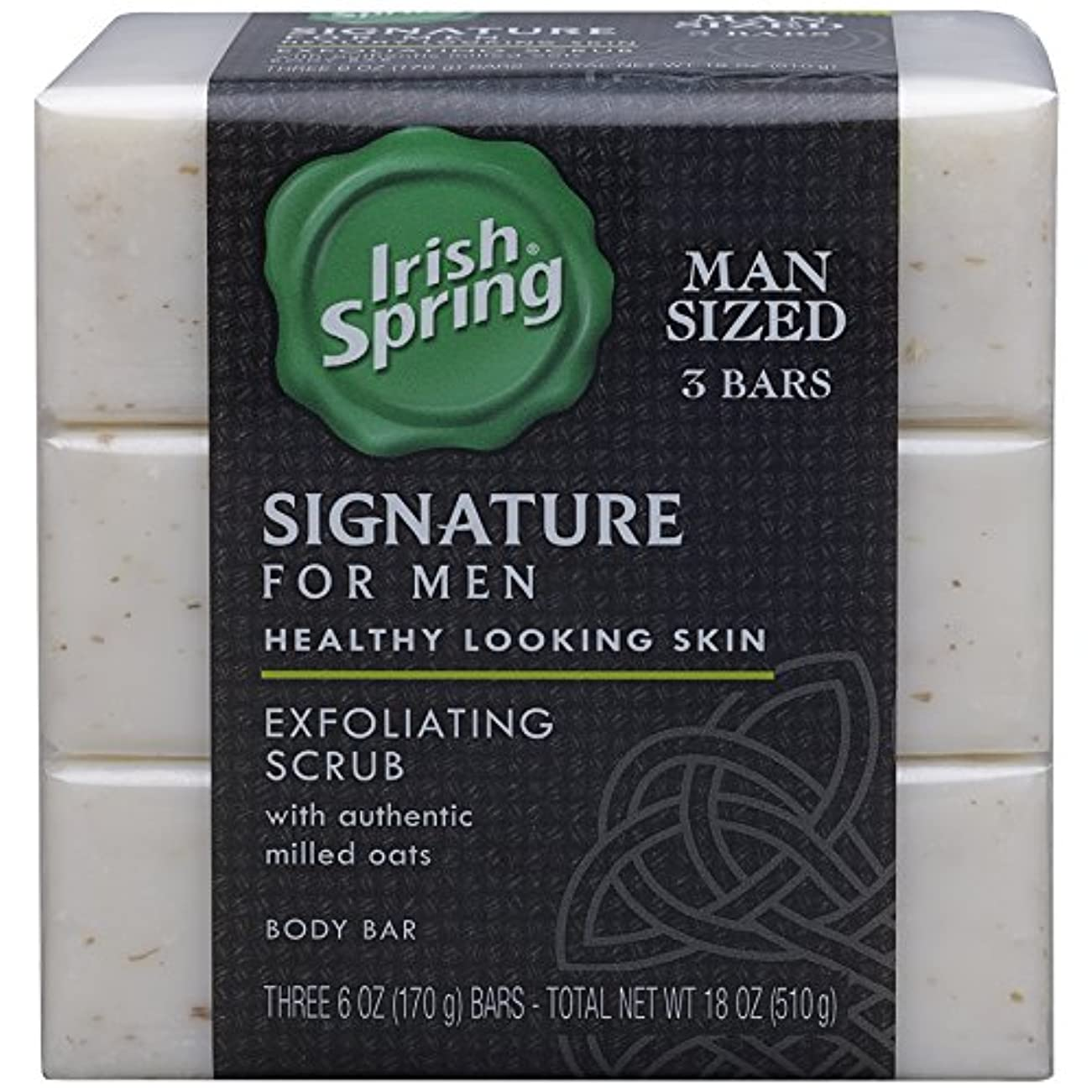 Irish Spring 署名ピーリング石鹸、6オンス、3カウント