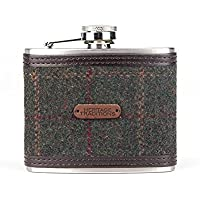 Heritage Traditions 4oz Green Box Tweed Hip Flask