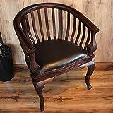 チェア 椅子 レノンチェア アジアン家具 木製椅子 天然木 無垢 チーク アンティーク調 革シート