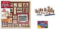 Melissa & Doug Wooden Stamp Set Bundle - Stamp a Scene - Farm with Bonus Rainbow Stamp Pad by Melissa & Doug