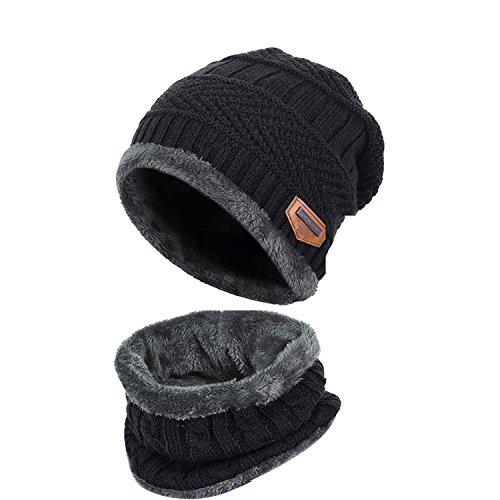 Goodbuy 帽子 メンズ 冬 暖かい ニット キャップ 防寒 スキー ソフトフリースの裏地は スカーフ付き (ブラック-A)