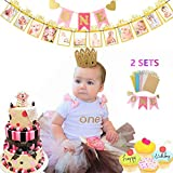 Jevenis きらめき赤ちゃん 最初の誕生日の飾 第1回誕生パーティーの供給 sきらめく赤ちゃん最初の誕生日装飾旗