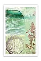 夏 - サーファーガール - アートコラージュ によって作成された ウェイド コニアコフスキー - プレミアム290gsmジークレーアートプリント - 61cm x 91cm