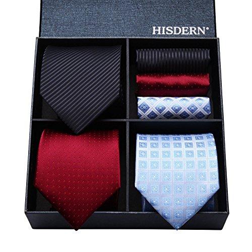 (ヒスデン) HISDERN メンズ 洗える ネクタイ ハンカチ 3本 セット 収納BOX 付き ビジネス結婚式 就活 パーティー プレゼント 様々なセットを選べる