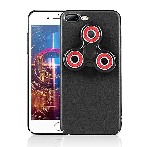 HAOCOOハンドスピナー iPhone 7 Plusケース Hand spinner iPhone Case 衝撃吸収バンパー 擦り傷防止 ストレス解消 アイフォン 7 Plus用のハンドスピナーコンボケース (iPhone 7 Plus, ブラック)