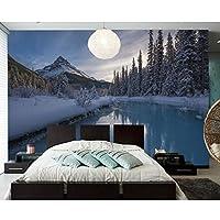 Ljjlm カナダ公園冬山川自然写真壁紙壁画用リビングルームソファーテレビ壁Bedroomnカフェバー-160X120CM