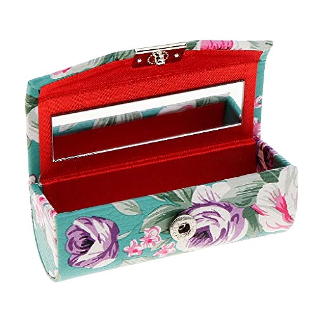 さようなら行商画家KESOTO リップスティックケース ミラー付き 革製 宝石 メイクアップ 口紅 メイクアップ 収納ホルダー  5色選べ - 青