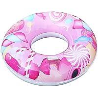 大人の子供のためのインフレータブルPVCスイミングリングキャンディーパターンプールフロートシートキッズガールズボーイズビーチおもちゃ