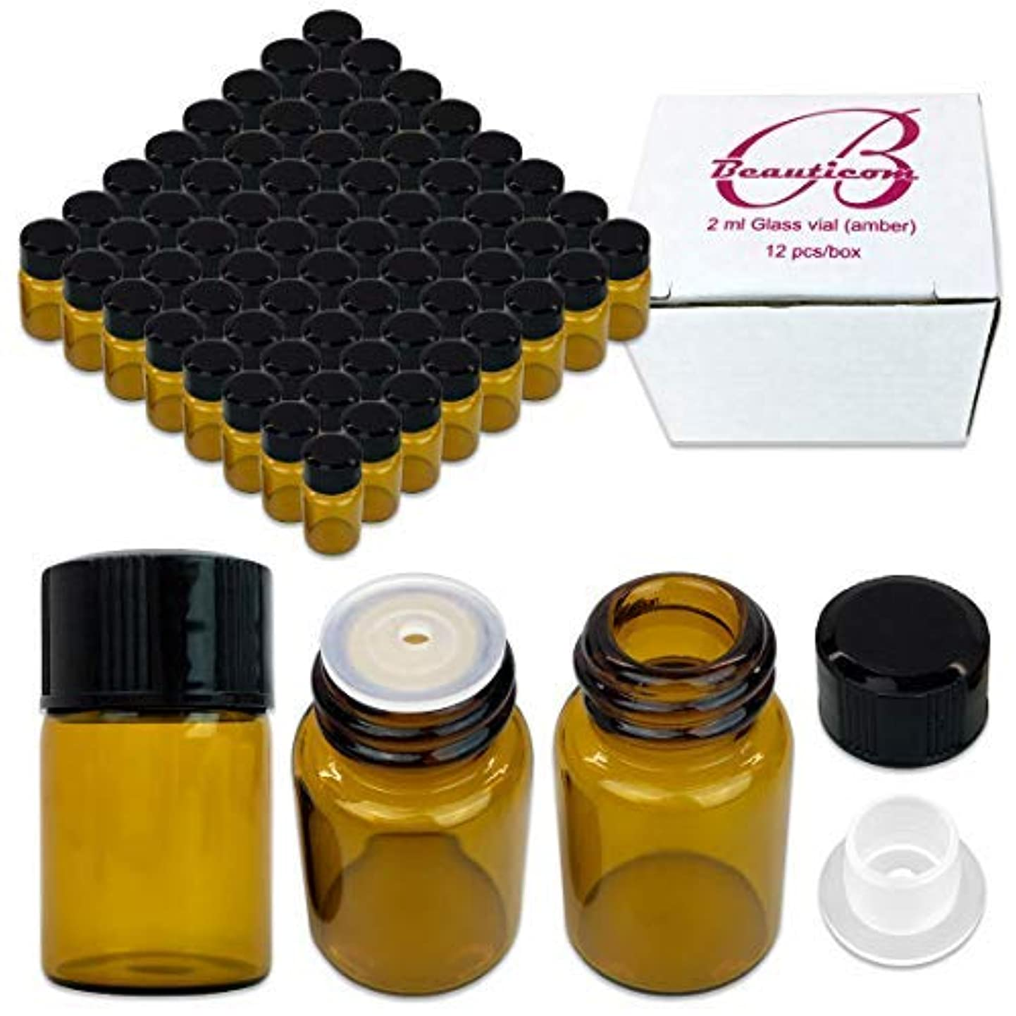 縮約メモ八84 Packs Beauticom 2ML Amber Glass Vial for Essential Oils, Aromatherapy, Fragrance, Serums, Spritzes, with Orifice...