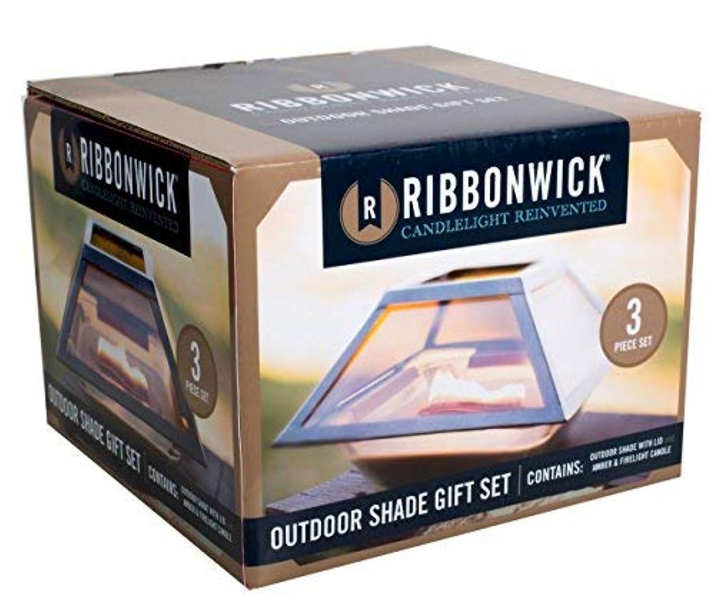 主シュート噴出するAmber Firelight 3ピースギフトセット装飾ガラスMedium RibbonWick Scented Candle