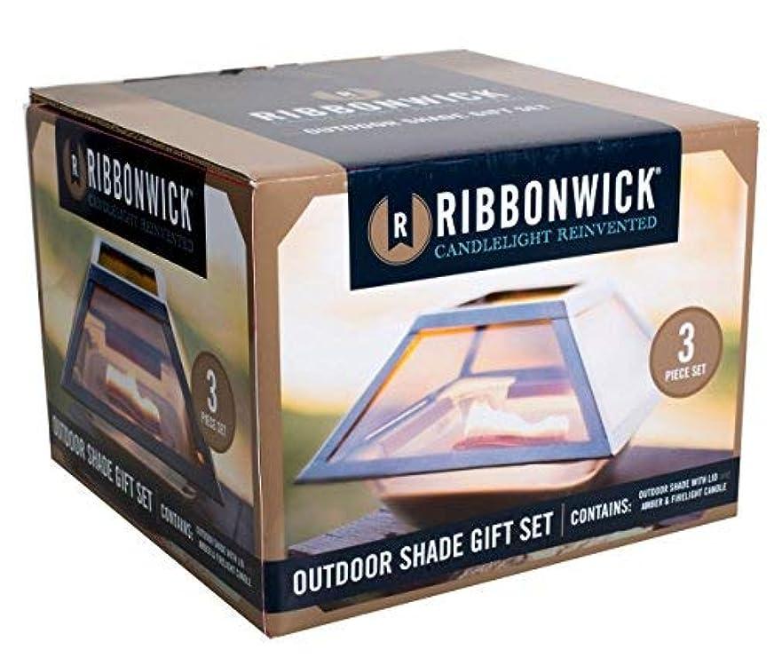 発音する生む新聞Amber Firelight 3ピースギフトセット装飾ガラスMedium RibbonWick Scented Candle