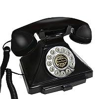固定電話 ヨーロッパのアンティークABSプラスチック製のロープ固定電話、レトロな創造的なホームオフィスホテルの固定電話 (色 : ブラック)