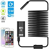Dr.Meter WiFi Endoscope, 2.0 Megapixels HD Digital Inspection Camera with 5 Meters(16.4ft) Cable and 8 LEDs in The Camera Handheld Borescope Supports Windows iOS and Android System