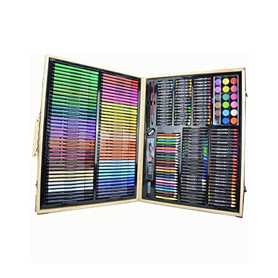 給料一定段落Gaoxingbianlidian001 ペイントブラシ、子供用258ブラシ無垢材ボックスセット、洗える色の明るい色の強力なアートツール(258個、50×40×7cm) 簡単で簡単 (Color : Brown, Size : 50 x 40 x 7 cm)