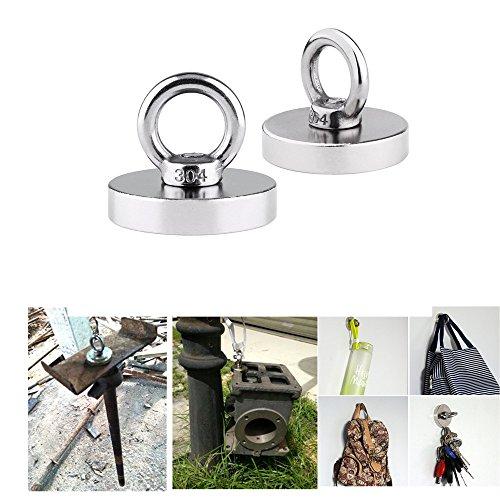 [해외]MrStar 자석 후크 후프 네오디뮴 자석 수직 하중 35kg 지름 4.2cm 높이 3.5cm 원형 2 개 세트/MrStar magnet hook hoop neodymium magnet vertical load capacity 35 kg diameter 4.2 cm height 3.5 cm round shape 2 pieces