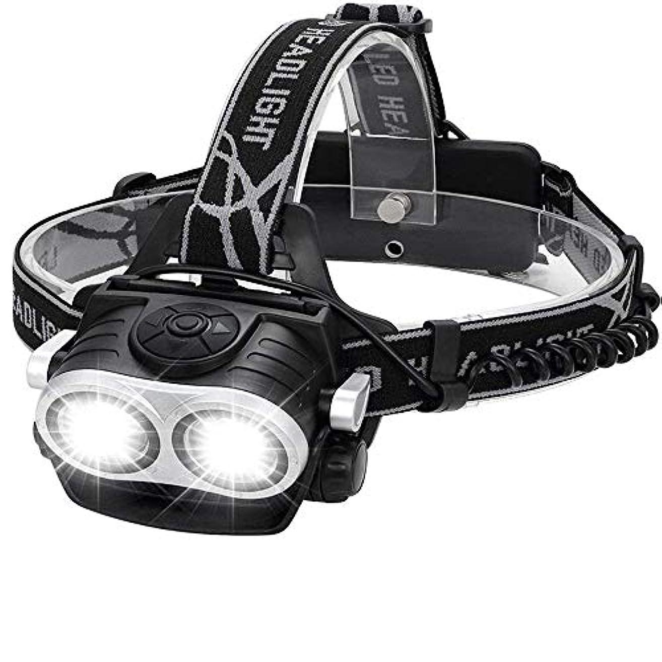 インディカネスト視力Erosttd ヘッドランプ、超高輝度LED T6デュアルコアUSB充電式充電式懐中電灯、防水、キャンプ用、ハイキング、アウトドア