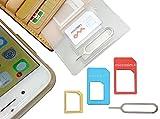 【 紛失防止 クレカより薄い SIM カード ケース ホルダー 日本製 】スキマに入る 変換 アダプタ イジェクトピン 4点セット SilverCoral ( カラフル )