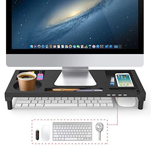 VOOPII モニター台 机上台 パソコン台 モニタースタンド 4 USBポ...