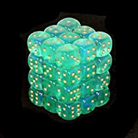 Chessex Dice d6 Sets: Borealis Light Green with Gold - 12mm Six Sided Die (36) Block of Dice by Chessex
