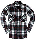 ( UN ANANAS )フリース 起毛 チェック シャツ 大きいサイズ 長袖 男性 メンズ 秋 冬 カジュアル あったか(レッド2XL)