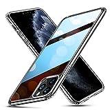 ESR iPhone 11 Pro Max ケース【日本旭硝子製 9H硬度加工】 強化ガラス+TPUバンパーアイホン 99%透明度 薄型 黄変防止 安心保護 耐衝撃 ワイヤレス充電対応 安心保護 ストラップホール付き 5.8インチ iPhone 11 Pro Max 專用スマホケース(ブラック)