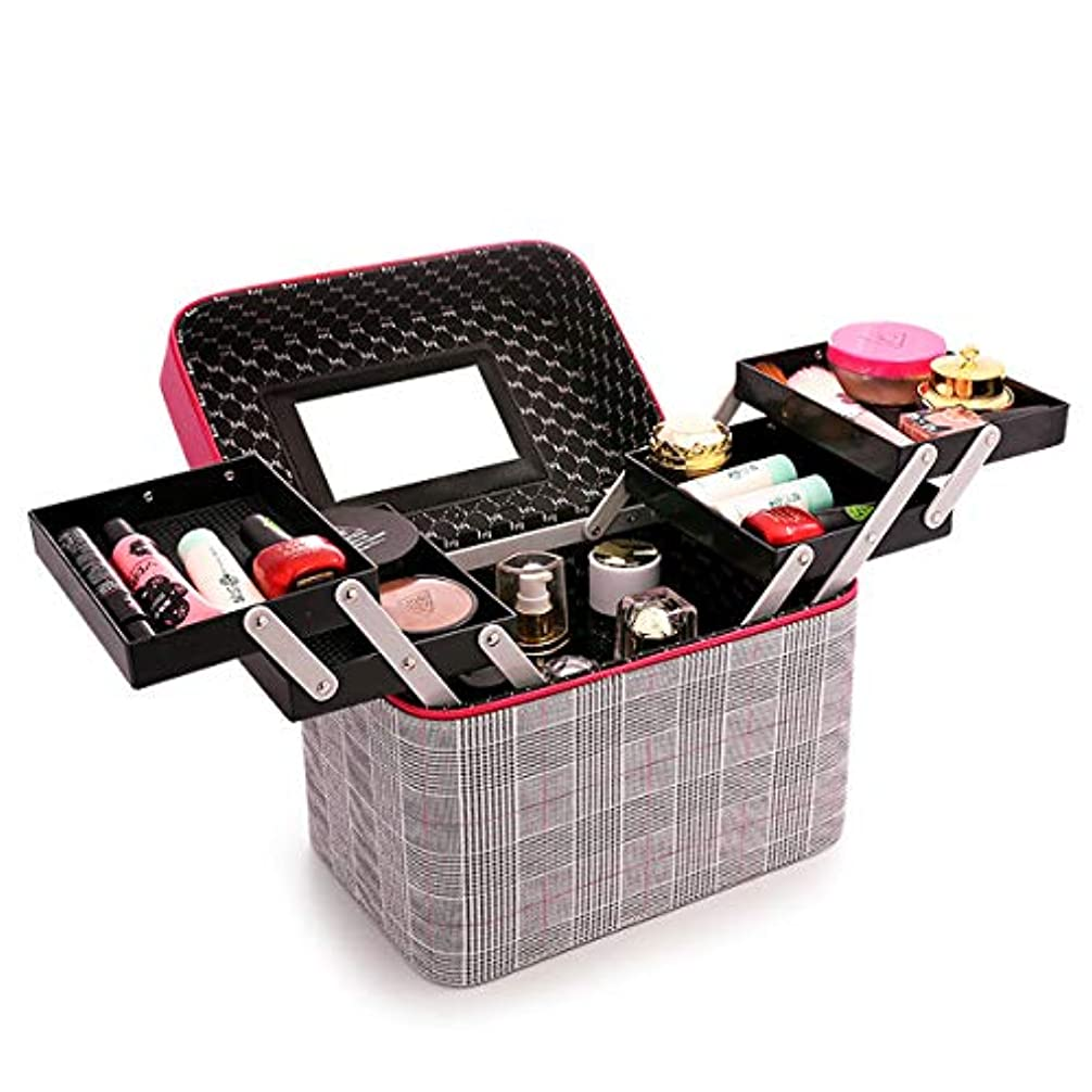 化粧品収納ボックス 化粧品ケース メイクボックス メイクボックス コスメボックス 大容量 収納ケース 小物入れ 大容量 取っ手付 (レッド)