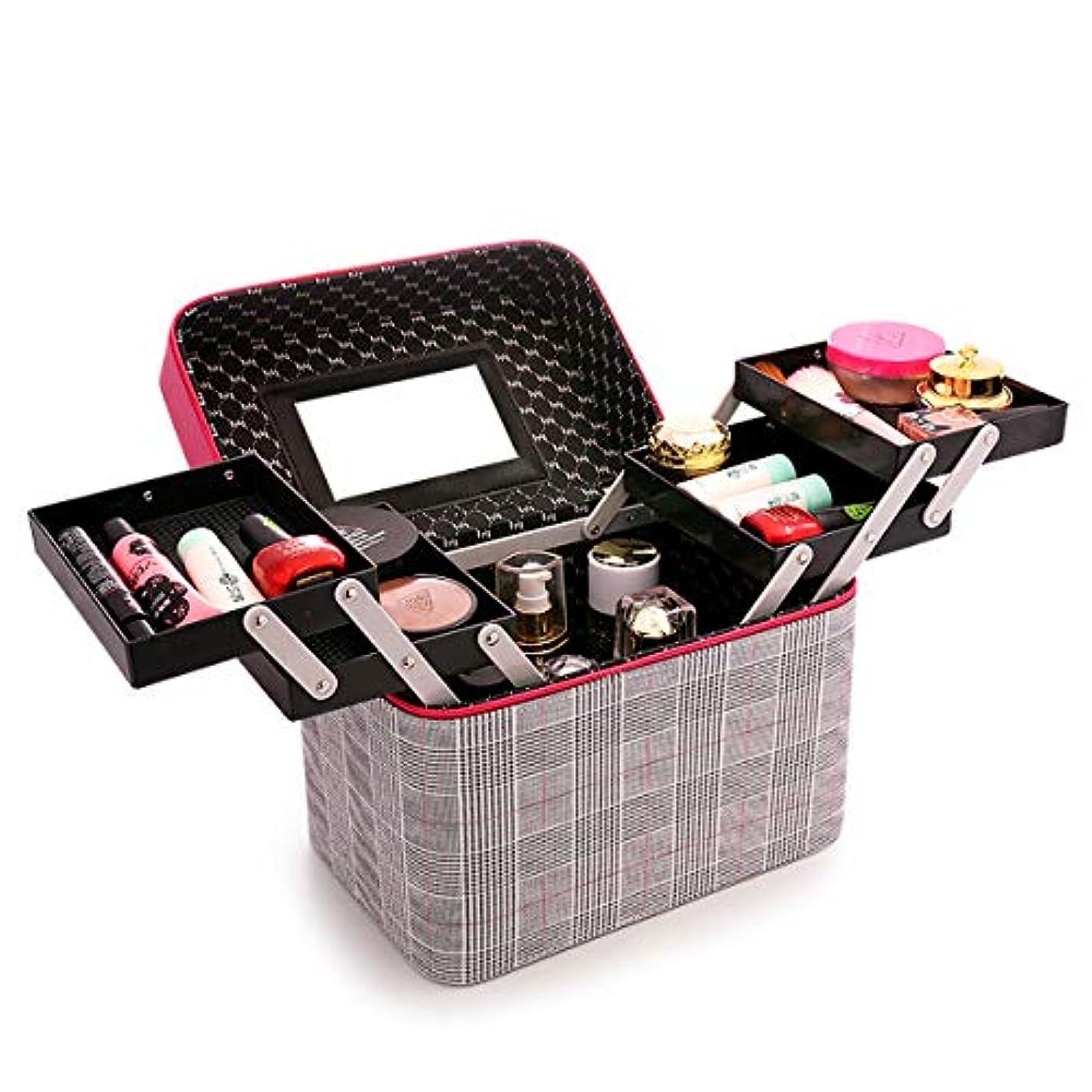箱スリップ抑止する化粧品収納ボックス 化粧品ケース メイクボックス メイクボックス コスメボックス 大容量 収納ケース 小物入れ 大容量 取っ手付 (レッド)