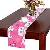 GGSXD テーブルランナー 親しい ピンク猫 クロス 食卓カバー 麻綿製 欧米 おしゃれ 16 Inch X 72 Inch (40cm X 182cm) キッチン ダイニング ホーム デコレーション モダン リビング 洗える