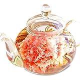 お中元 お茶 ギフト 花咲く工芸茶10種とガラスティーポット プレミアムBOX優雅セット