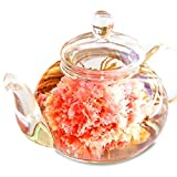優雅セット 花咲く工芸茶10種とガラスティーポット 母の日 誕生日 内祝い プレゼント(通常ラッピング)