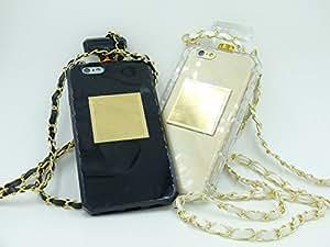 iPhone6(4.7インチ) 香水ボトル風 スマホ ケース ネックレス型ストラップ付き 液晶保護フィルム付 (クリア)