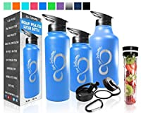Live Infinitely Double Walled Vacuum Insulated Water Bottles ?30,40 or 64oz 18/8 Food Safe Stainless Steel- Includes Flip Top & Wide Mouth Lid,(Blue With Etched Logo,64 Ounce) [並行輸入品]