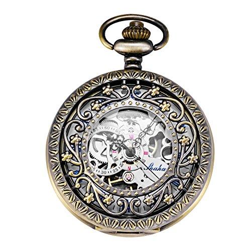 TREEWETO 機械式 懐中時計 ホロー 花の蔓 スケルトン ブロンズ ローマ数字表示
