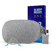 Cotton Sleep Eye Mask - 2018 New Design Light Blocking Sleep Mask, Includes Travel Pouch, Soft, Comfortable, Blindfold, 100% Handmade, Best Blinder for Travel/Sleeping/Shift Work/Meditation, Grey