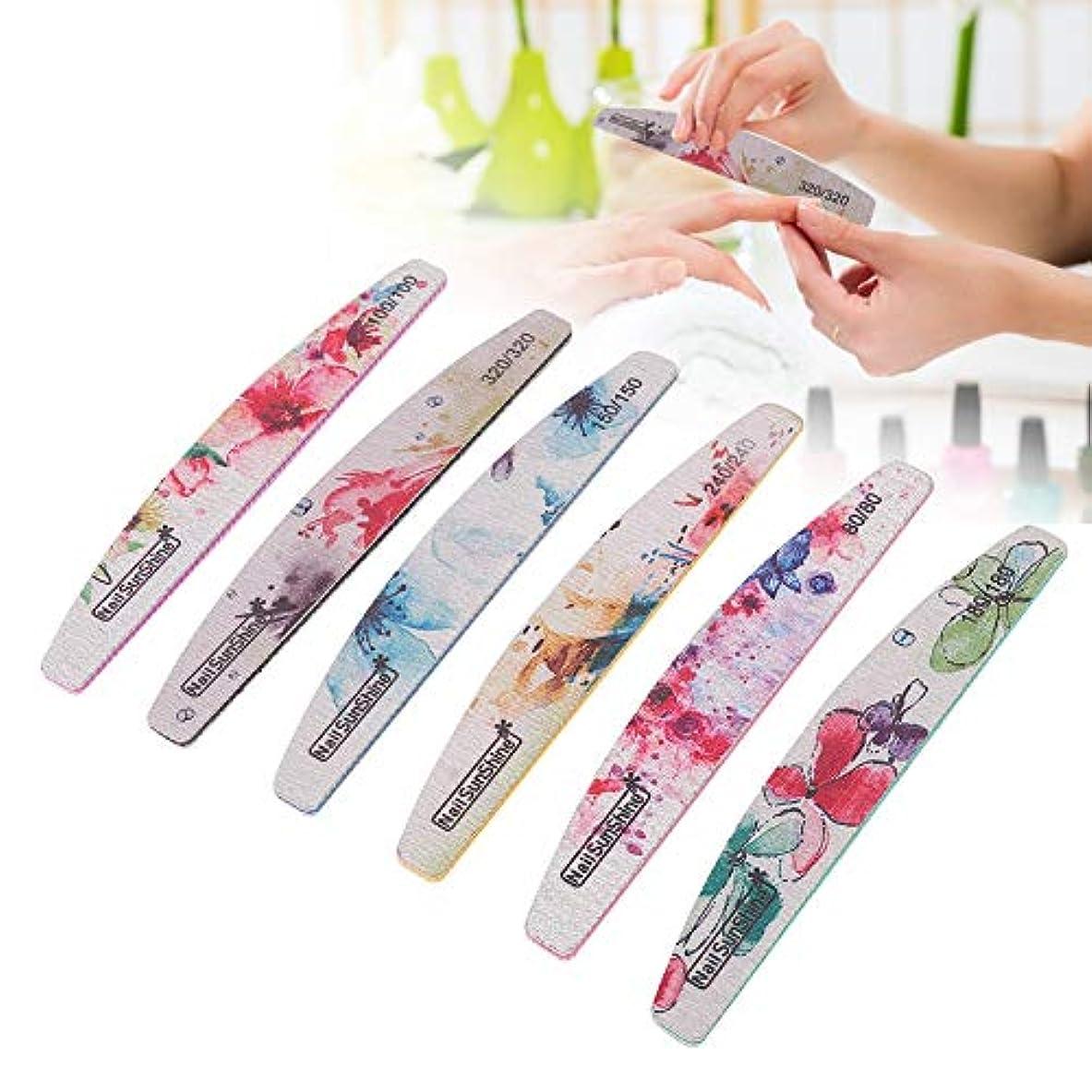 みリア王化学薬品6本の両面ネイルファイル、カラフルなエメリーボードネイルファイルネイルアートバフ研磨ストリップネイルバッファーポリッシャーペディキュアケアDIY指と爪のためのDIY
