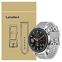 Lamshaw Amazfit GTR バンド, スポーツ シリコン 交換バンド ベルト 対応 Amazfit GTR 47mm / Amazfit GTR 42mm (47mm ケース, グレー)