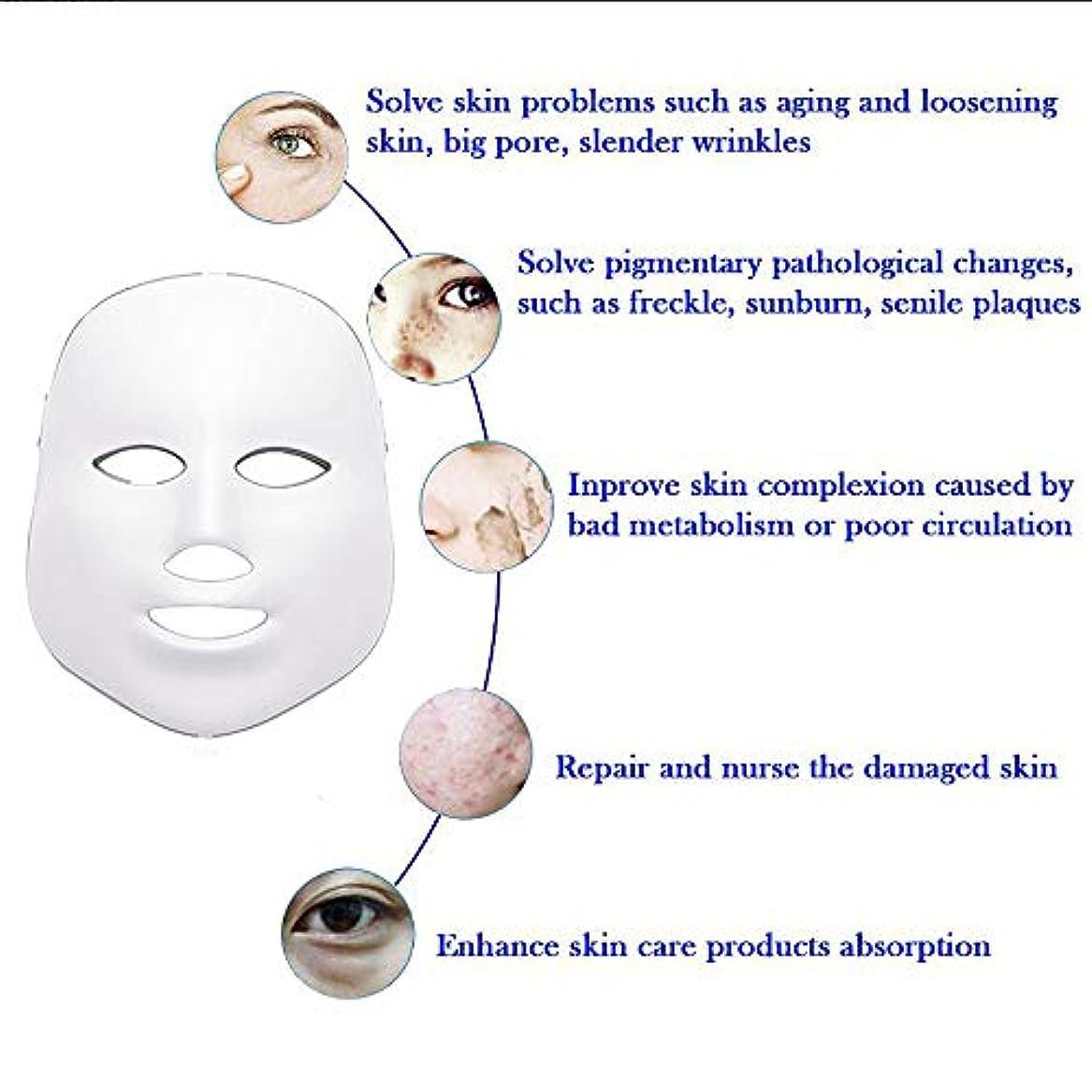 アルミニウム第二にぬるいLEDフェイスマスク、7色フォトンブルーレッドライトスキンリジュビネーションフェイシャルスキンケアマスク、アンチエイジング、しわ、瘢痕フェイシャルスキンケアマスク
