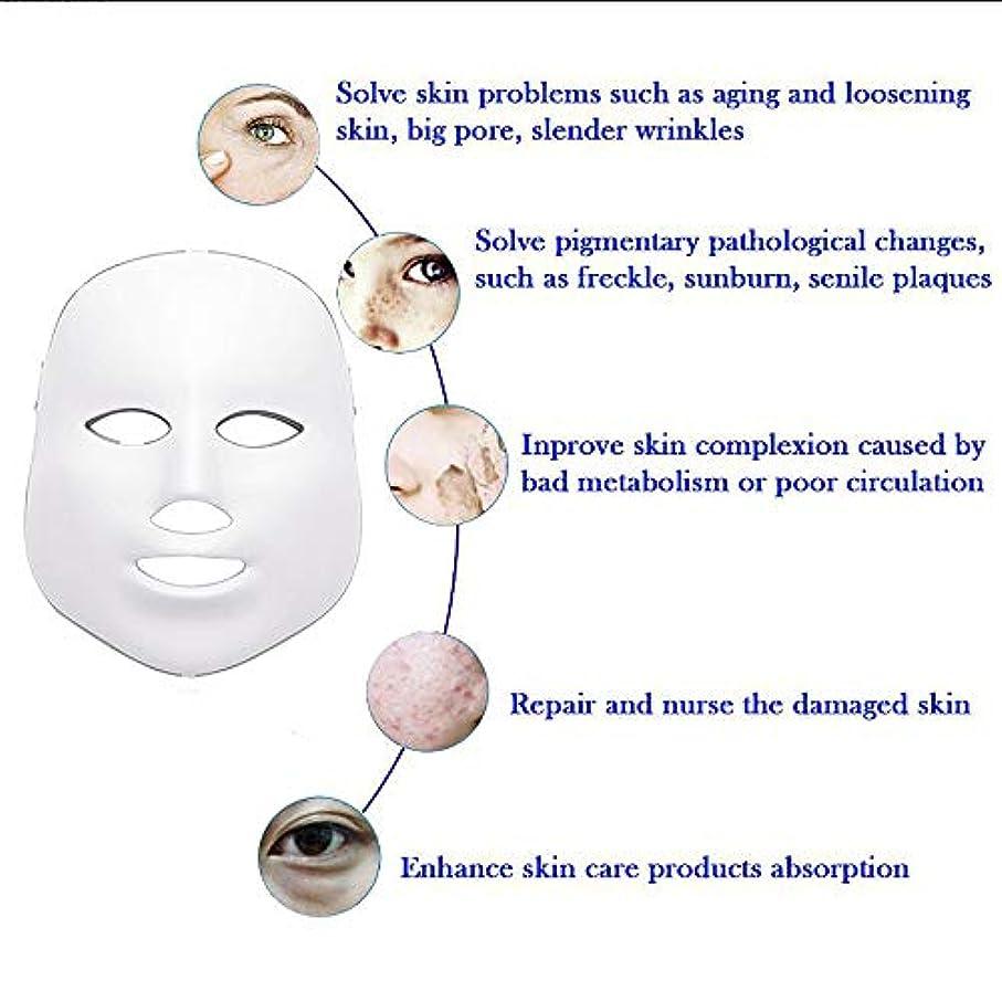 LEDフェイスマスク、7色フォトンブルーレッドライトスキンリジュビネーションフェイシャルスキンケアマスク、アンチエイジング、しわ、瘢痕フェイシャルスキンケアマスク