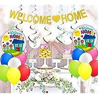 歓迎 パーティー 飾り セット 家族行事 お祝い 自宅 帰宅 ベビーシャワー welcome home バナー ガーランド アルミバルーン 風船 ブルー レッド グリーン イエロー ゴールド ホワイト 渦巻きバナー 37枚セット