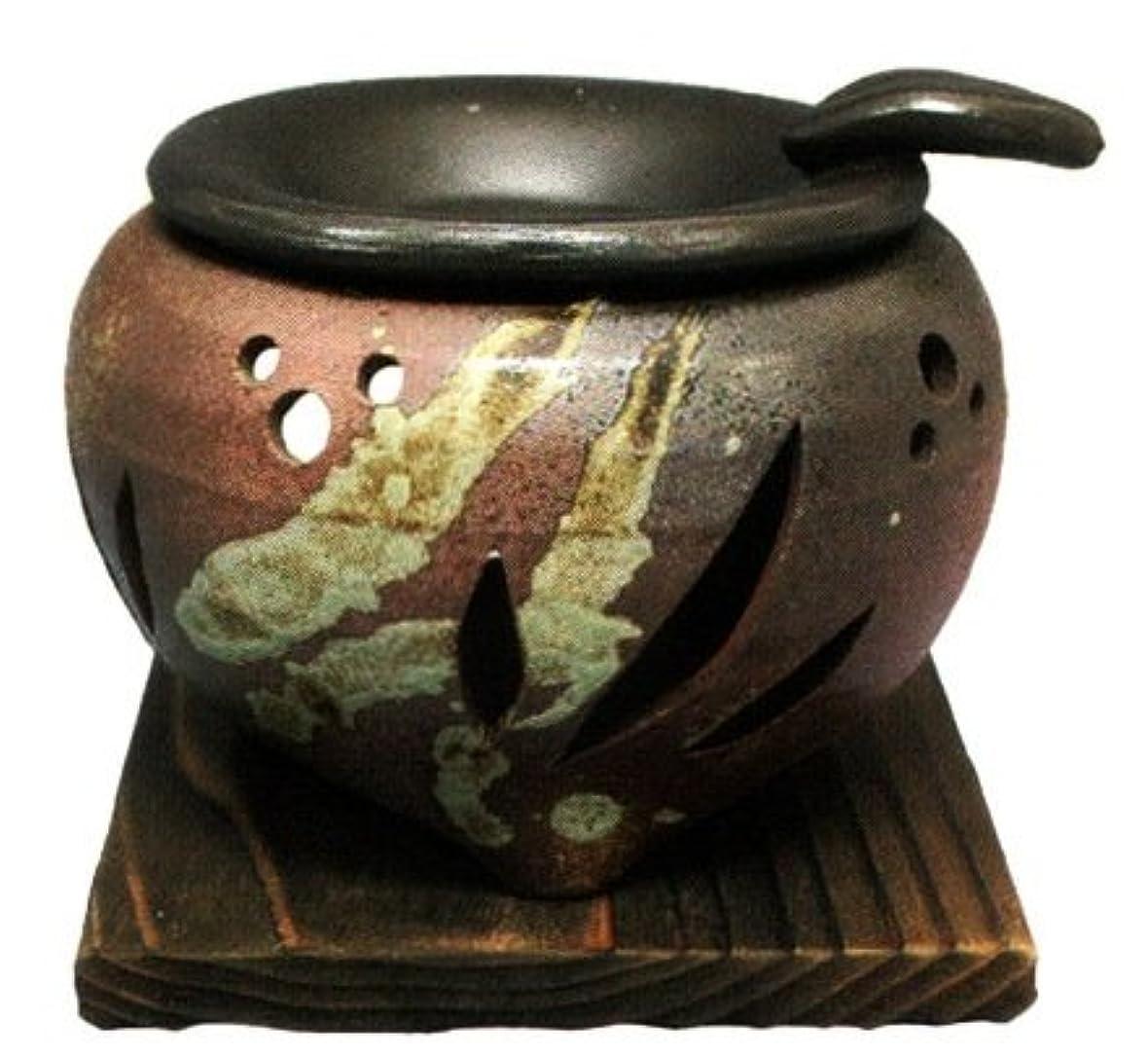 ジェットブラジャー競争常滑焼?山房窯 カ39-04 茶香炉 杉板付 約φ11.5×9.5cm