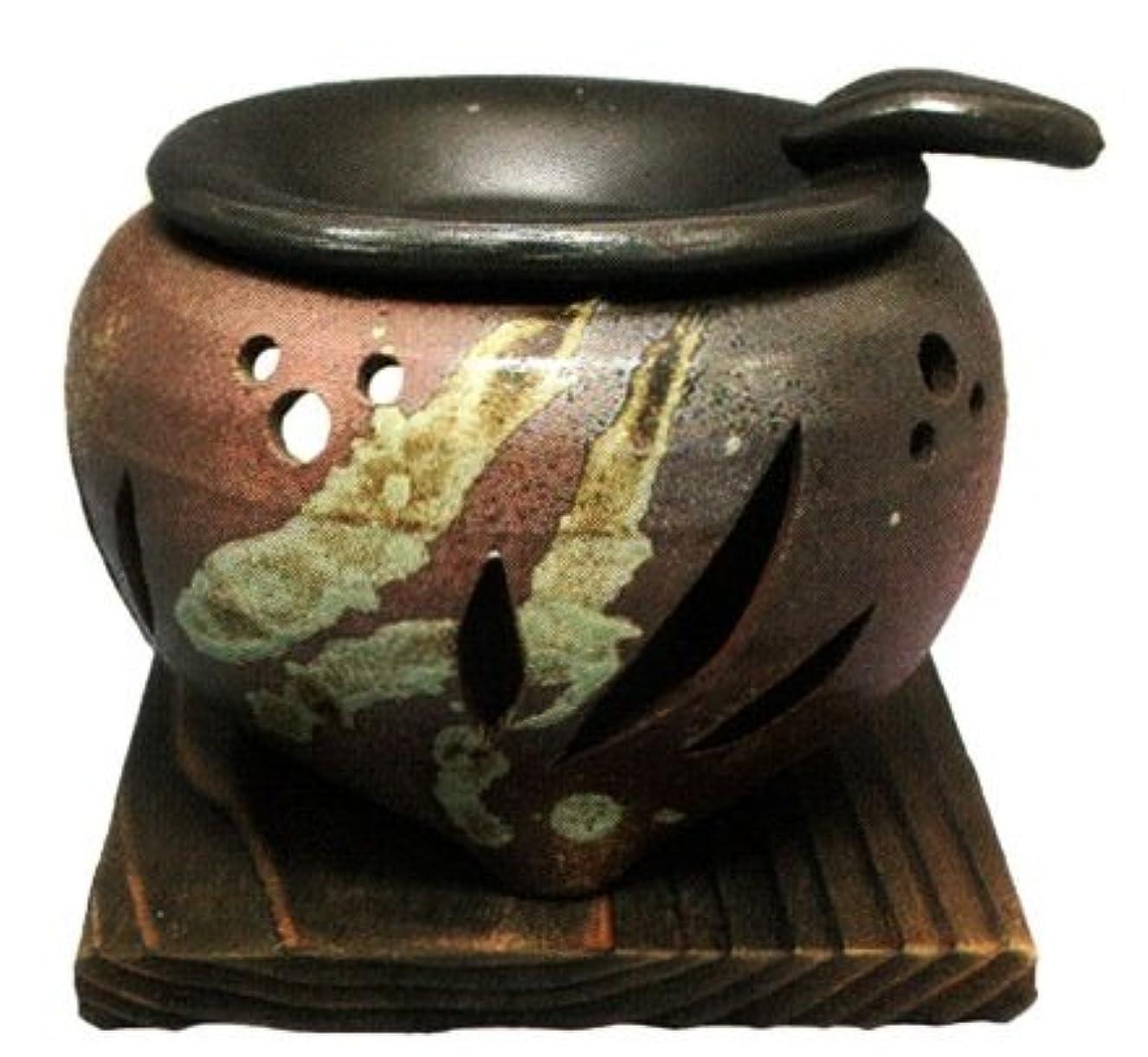 却下する半径シェルター常滑焼?山房窯 カ39-04 茶香炉 杉板付 約φ11.5×9.5cm