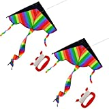"""Best デルタ凧 - haoun凧、2パックデルタ凧for Kids Large Kite withハンドル長い尾Easy Flyer /アウトドアおもちゃ44"""" x Review"""