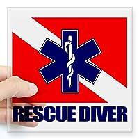 "CafePress–Rescue Diver ( EMT )ステッカー–Squareバンパーステッカー車デカール、3"" x3"" ( Small )または5"" x5"" ( Large ) Small - 3x3 0864038895B2424"