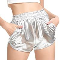 PESION Womens Yoga Hot Shorts Shiny Metallic Pants Rave Booty Dance