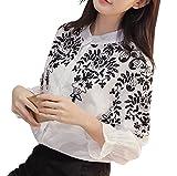 レディース ブラウス [エムズ ミミ] ヘンリーネックシャツ ホワイト ブラック 2色 S〜XXXL