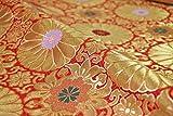 【Oriet Kyotoの布】金襴 生地 十六菊 赤☆長さ50cm単位(連続カット可)